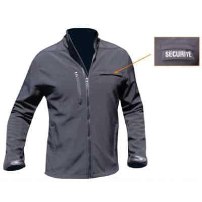 blouson securite noir softshell 3 couches dintex 400x400 - BLOUSON SECURITE SOFTSHELL